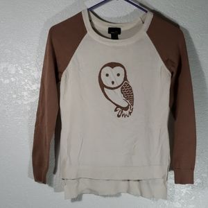 Small beige taupey pink sleeved cream owl sweater